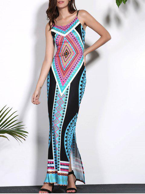 fashion Geometric Print Cami Open Back Maxi Dress - COLORMIX L Mobile