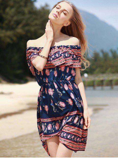 latest Retro Floral Print Sleeveless Off The Shoulder Dress - PURPLISH BLUE L Mobile