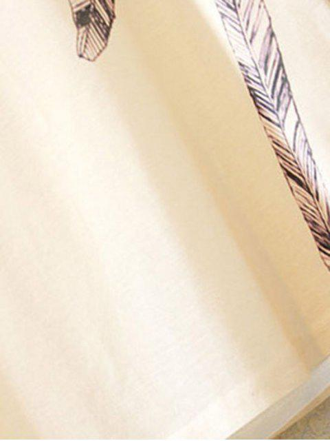 women Feather Print Round Collar Short Sleeve T-Shirt - WHITE ONE SIZE(FIT SIZE XS TO M) Mobile