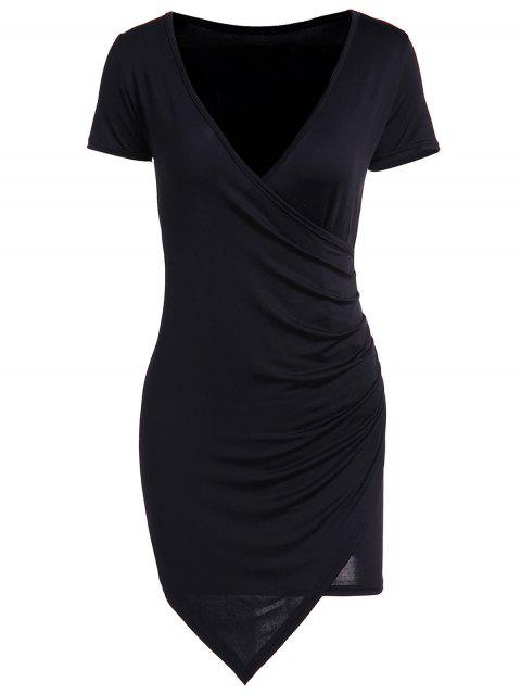 unique Solid Color Short Sleeve Bodycon Dress - BLACK S Mobile