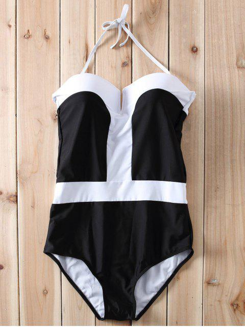 women's Color Block Bandeau One Piece Swimwear - WHITE AND BLACK L Mobile