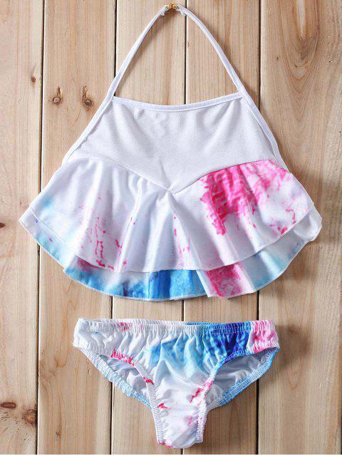 Halter Ruffles Tie Dye Bikini - Blanc L Mobile