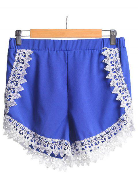womens Lace Spliced Elastic Waist Shorts - BLUE XL Mobile