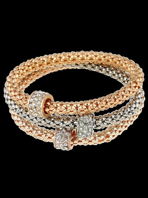 Bracelets charmants avec cercle décoré des strass 3 Pcs - Or  Mobile