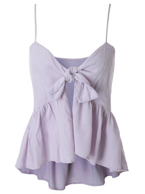 ladies Spaghetti Strap Tie Knot Pepleum Tank Top - LIGHT PURPLE L Mobile