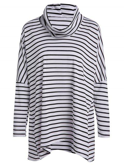 fashion Long Sleeve Striped Loose T-Shirt - WHITE AND BLACK L Mobile