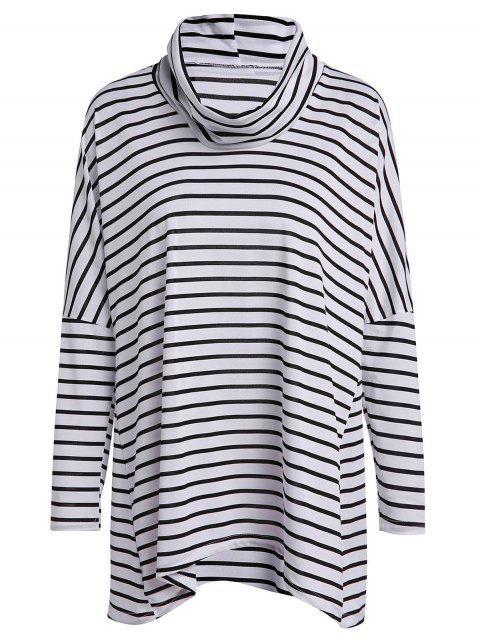 Langes Hülsen-gestreiftes lose T-Shirt - Weiß & Schwarz L Mobile