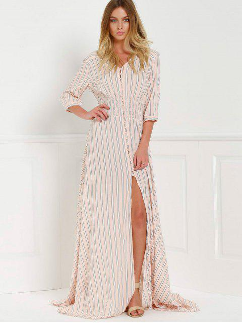 ladies Button Front Stripe 3/4 Sleeve Maxi Dress - PINK M Mobile