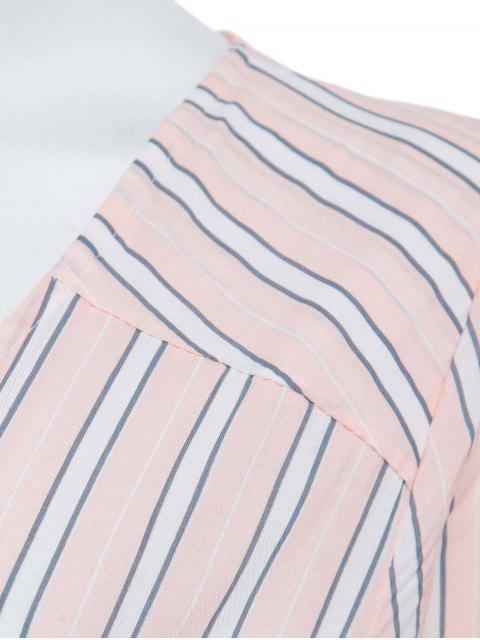 women's Button Front Stripe 3/4 Sleeve Maxi Dress - PINK S Mobile