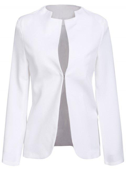 best Notched Solid Color Long Sleeve Blazer - WHITE S Mobile