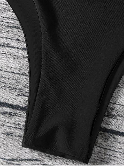fancy Strappy Halter Wrap Bikini Set - BLACK XL Mobile