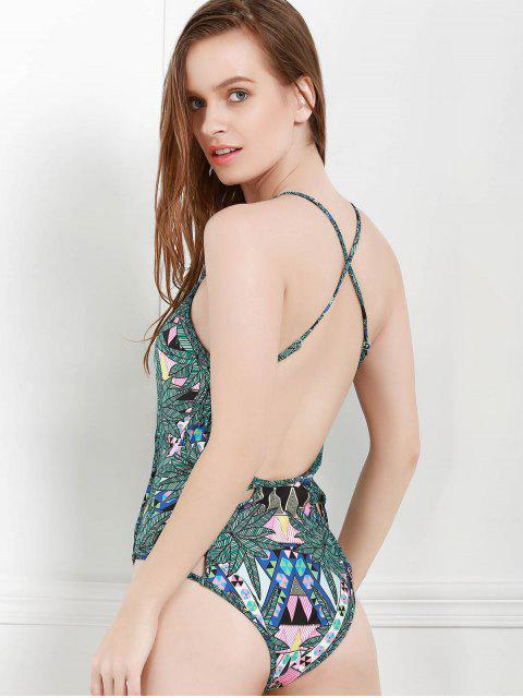 women's Leaf Print Cami One-Piece Swimwear - BLACKISH GREEN S Mobile