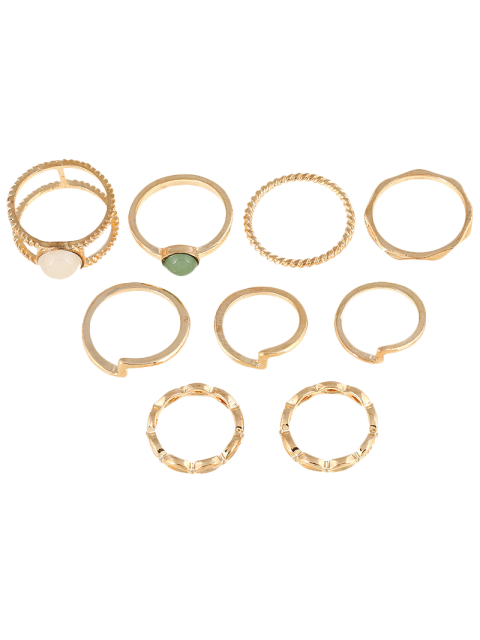 new 9 PCS Gold Plated Fake Gemstone Rings - GOLDEN  Mobile