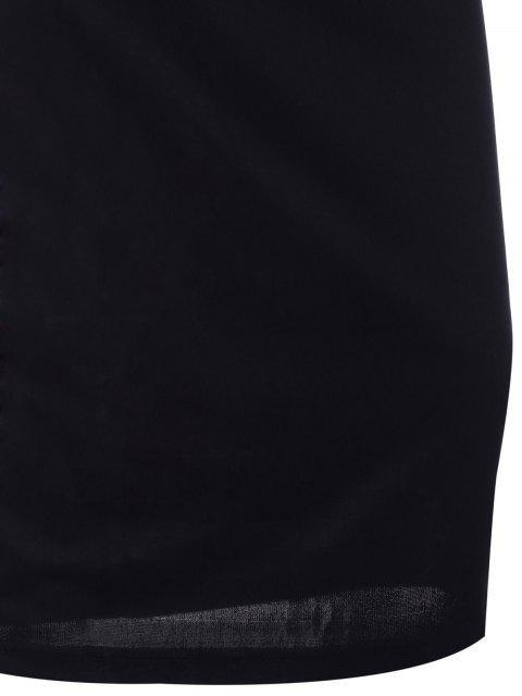 Robe élégante noire moulante sans manches avec garnitures en dentelle - Noir Taille Unique(S'adap Mobile