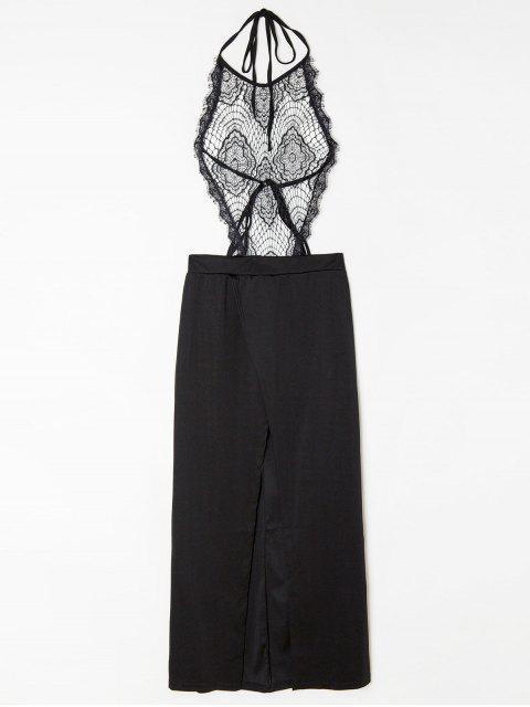 shop Halter Backless See-Through Lace Bodice Dress - BLACK L Mobile