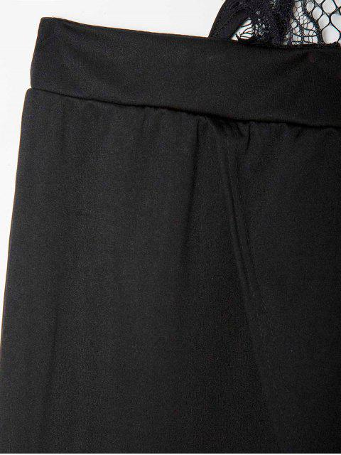hot Halter Backless See-Through Lace Bodice Dress - BLACK M Mobile