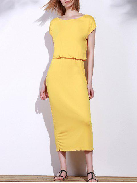 online Blouson Maxi Dress - YELLOW L Mobile