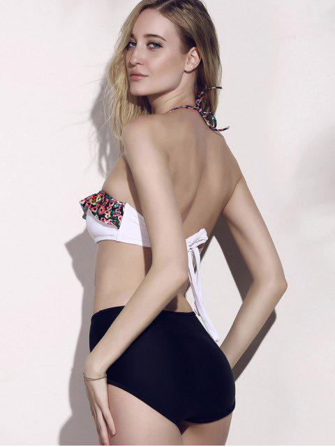unique High Waisted Tiny Floral Print Bikini - BLACK XL Mobile
