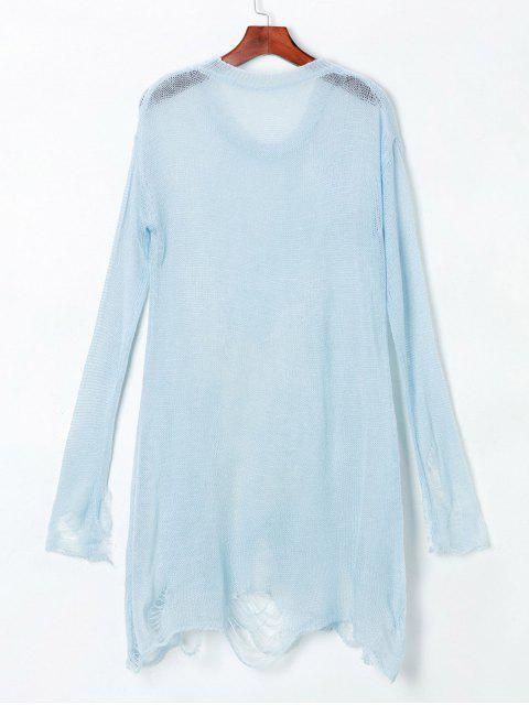 fancy Ripped Open Knit Reindeer Sweater - LIGHT BLUE ONE SIZE(FIT SIZE XS TO M) Mobile