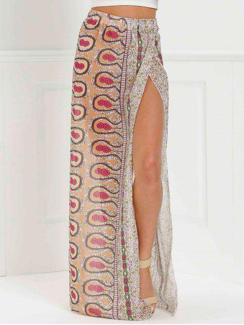 hot High Slit Printed Long Skirt - PINK L Mobile