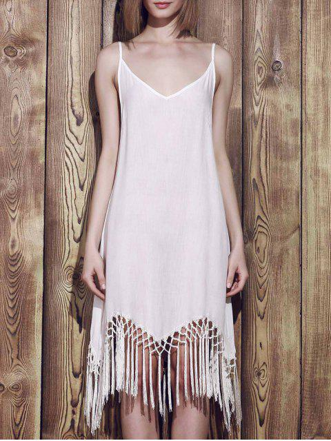 sale Fringed Cami Slip Dress - WHITE XL Mobile