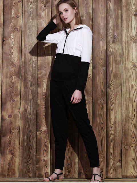 Color Block Hoodie und Sweatpants Sweat Anzug - Schwarz L Mobile