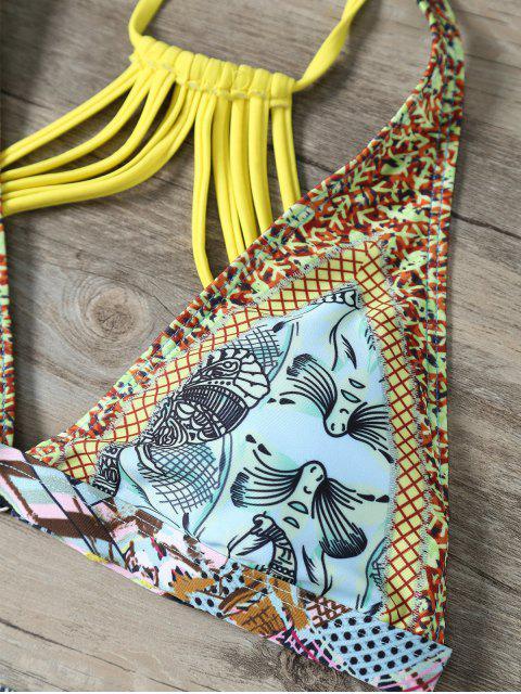 unique Plunge Strappy Back Printed Bikini - MULTICOLOR L Mobile