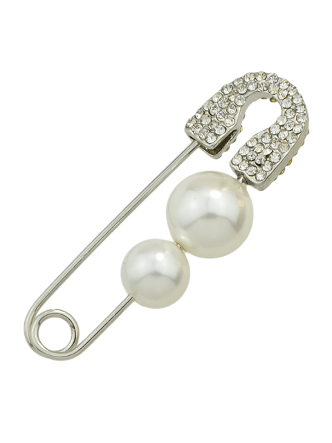 trendy ONE PIECE Faux Pearl Rhinestone Pin Earring - SILVER  Mobile