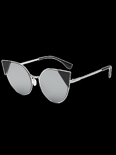 women's Triangle Insert Cat Eye Mirrored Sunglasses - SILVER  Mobile