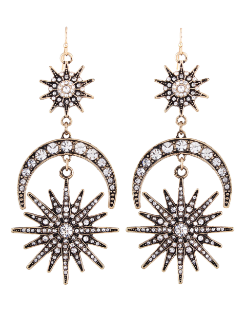 unique Crescent Floral Rhinestone Drop Earrings -   Mobile