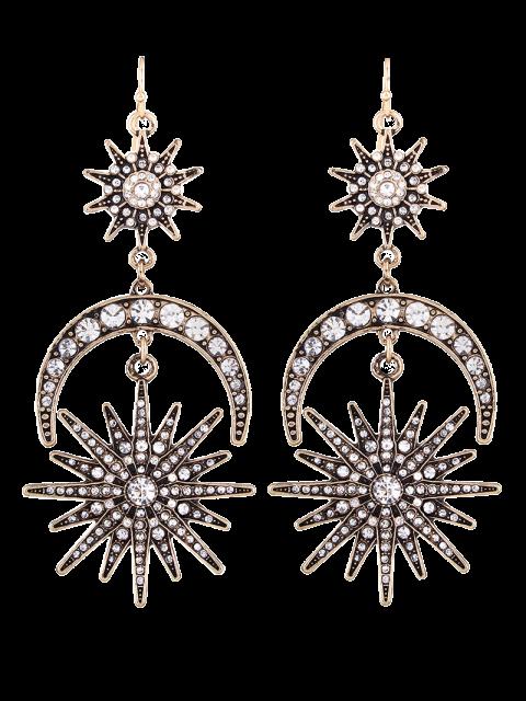 unique Crescent Floral Rhinestone Drop Earrings -   Mobile