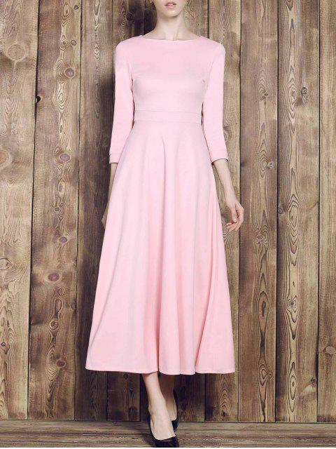 affordable Fit and Flare Maxi Dress - PINK XL Mobile