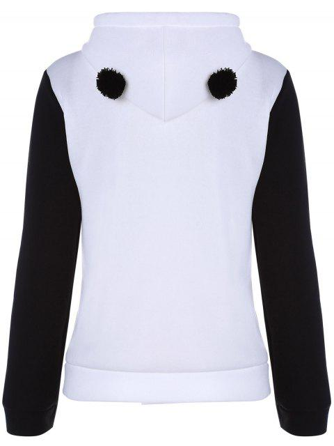 lady Panda Pattern Hooded Long Sleeve Hoodie - WHITE L Mobile