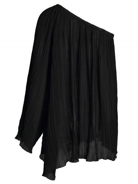 women's Black Chiffon Oblique Shoulder Long Sleeve Dress - BLACK L Mobile