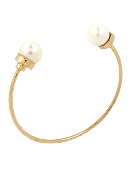 fancy Faux Pearl Alloy Beads Cuff Bracelet -   Mobile