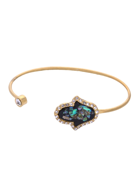 women's Faux Gemstone Rhinestone Palm Cuff Bracelet - GOLDEN  Mobile