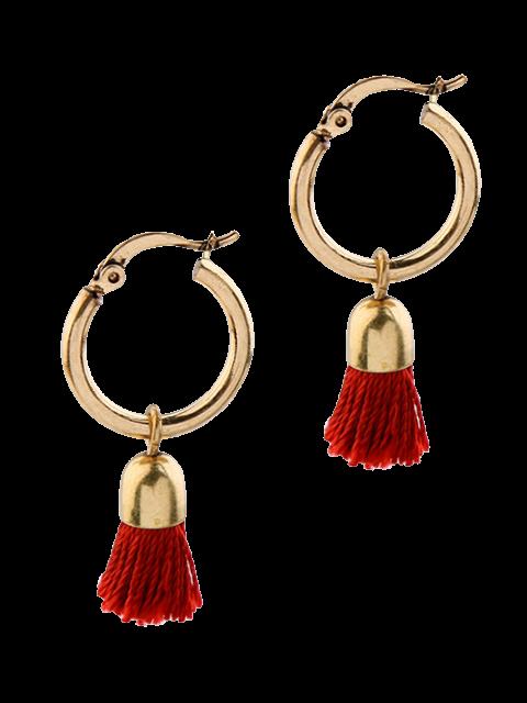 unique Vintage Tassel Circle Drop Earrings - RED  Mobile