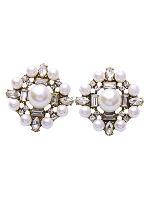 womens Faux Pearl Rhinestone Earrings - WHITE  Mobile