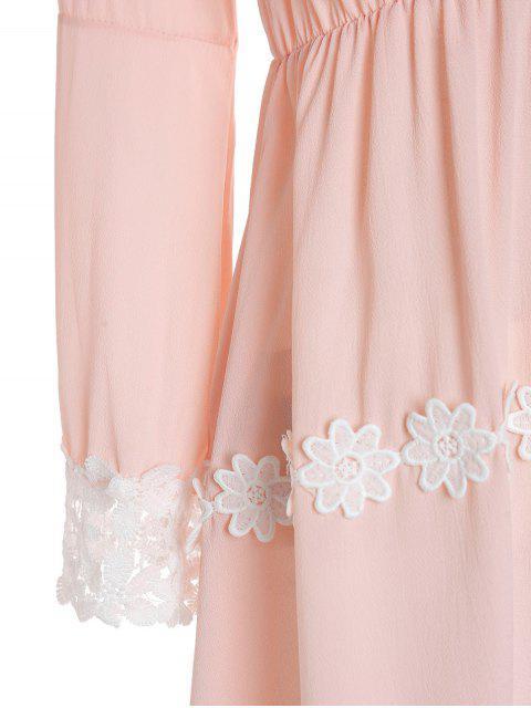 ladies Crochet Floral Applique Chiffon Dress - PINK S Mobile