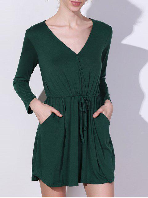 hot V Neck Mini Pocket Dress - GREEN XL Mobile