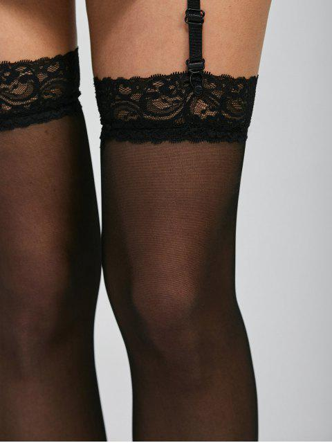online Lace Insert See Thru Over Knee Garter - BLACK ONE SIZE Mobile