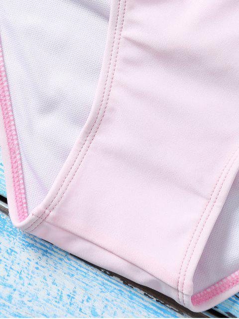 shop Color Block Underwire Bikini Set - BLUE AND PINK L Mobile