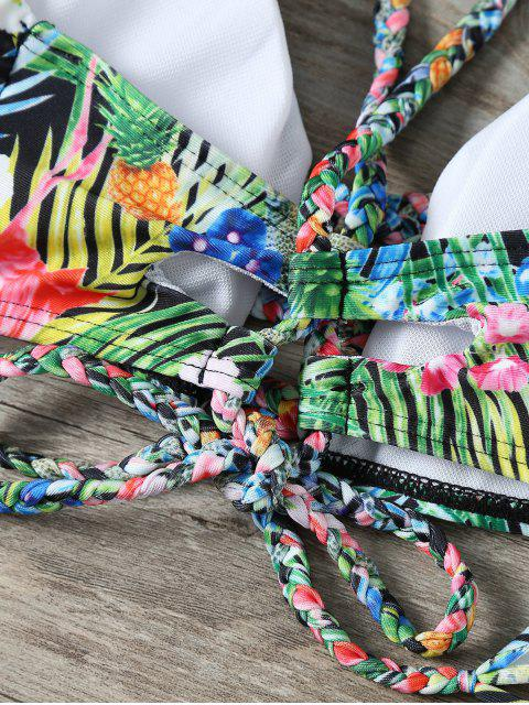 fashion Palm Leaf Floral Braided Bikini - MULTICOLOR L Mobile