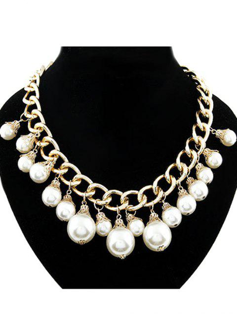 outfits Faux Pearl Hollow Out Chunky Necklace - GOLDEN  Mobile