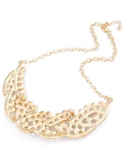 buy Faux Pearl Hollow Out Statement Necklace - GOLDEN  Mobile