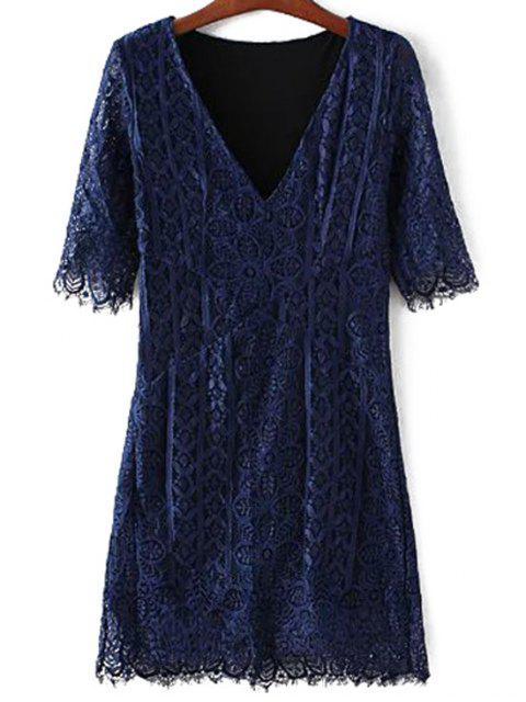 women V-Neck Bodycon Lace Dress - PURPLISH BLUE M Mobile