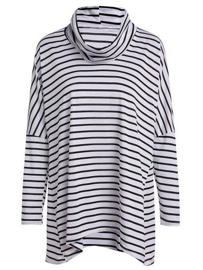 Turtle Neck Long Sleeve Striped Loose T Shirt