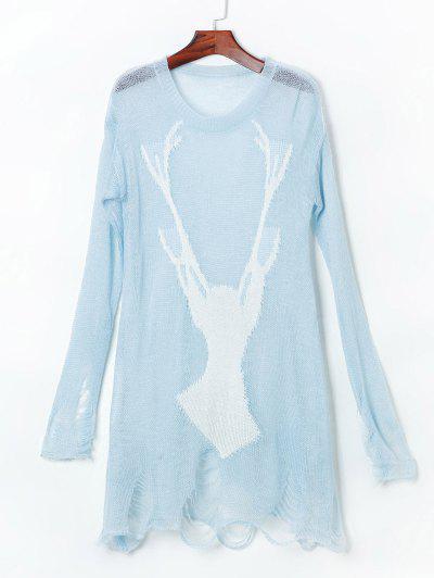 Ripped Open Knit Reindeer Sweater - Light Blue