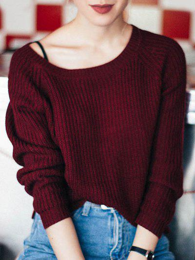 Boat Neck Loose Sweater - Wine Red