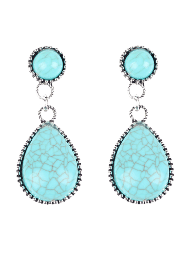 Bohemian Faux Turquoise Water Drop Earrings - Windsor Blue